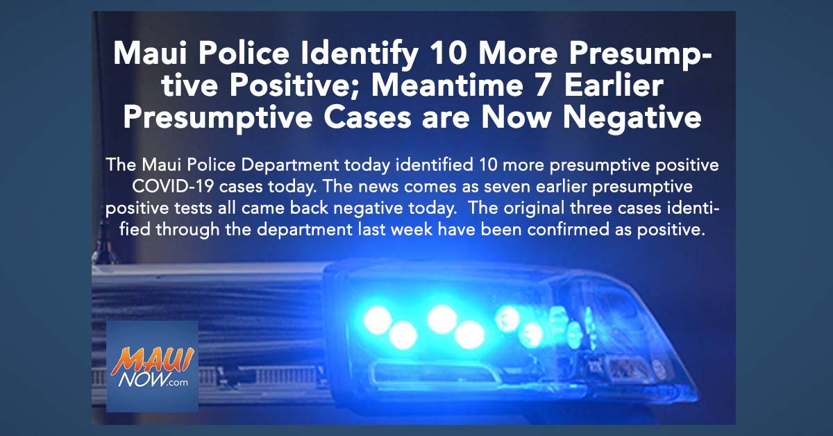 Maui Police Identify 10 More Presumptive Positive; Meantime 7 Earlier Presumptive Cases are Now Negative