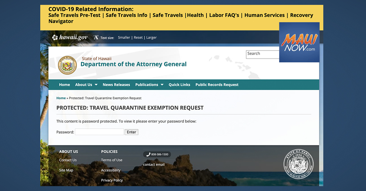Hawai'i COVID-19 Quarantine Exemption Requests Go Digital