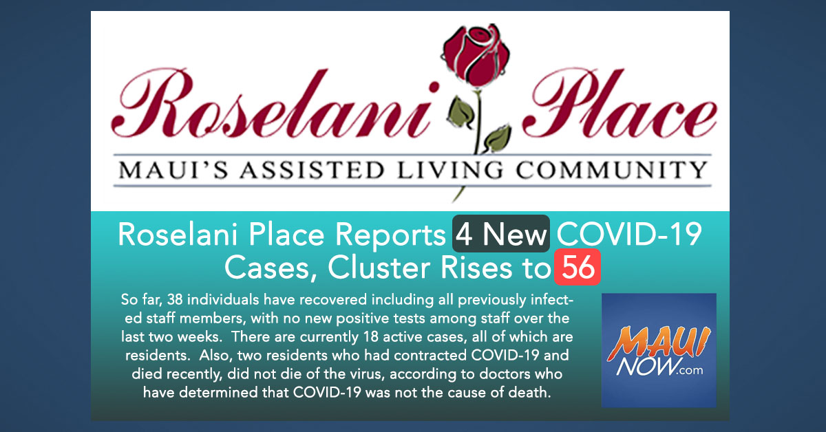 Roselani Place Reports 4 New COVID-19 Cases, Cluster Rises to 56