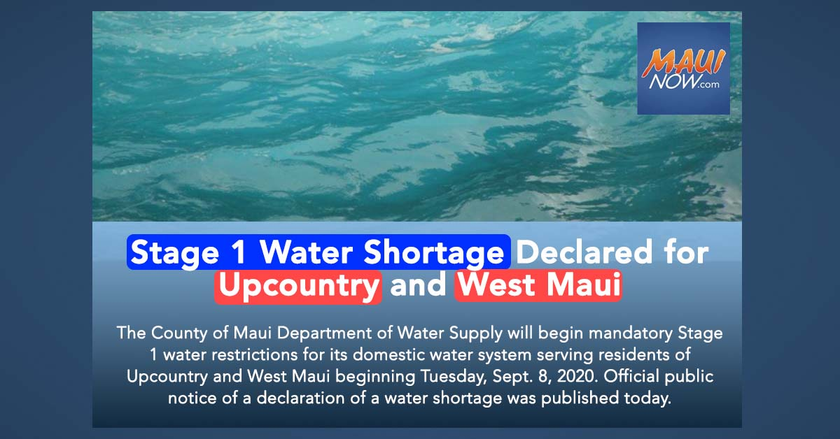 Stage 1 Water Shortage Declared for Upcountry and West Maui