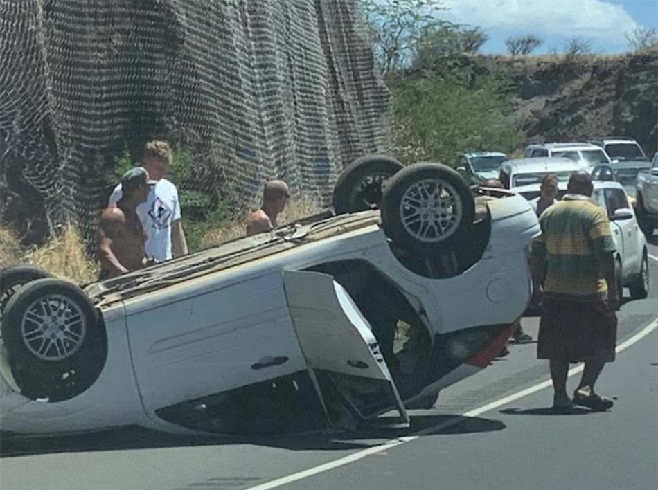 Overturned Vehicle: Mid-Day Accident Slows Traffic on Honoapi'ilani Highway