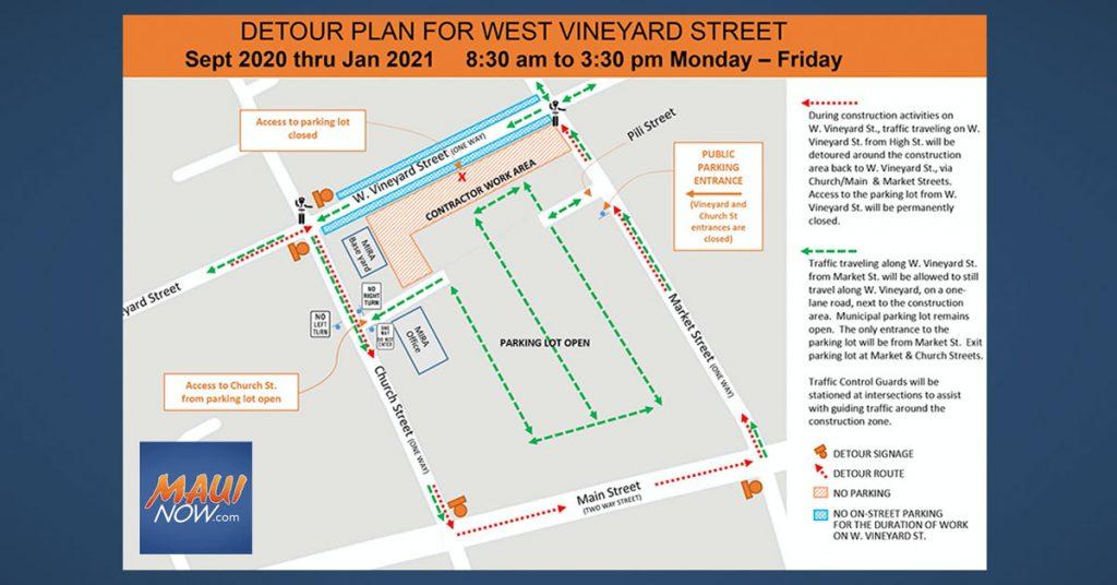 Maui Now: West Vineyard Street Infrastructure Upgrades Begin Monday, Sept. 28
