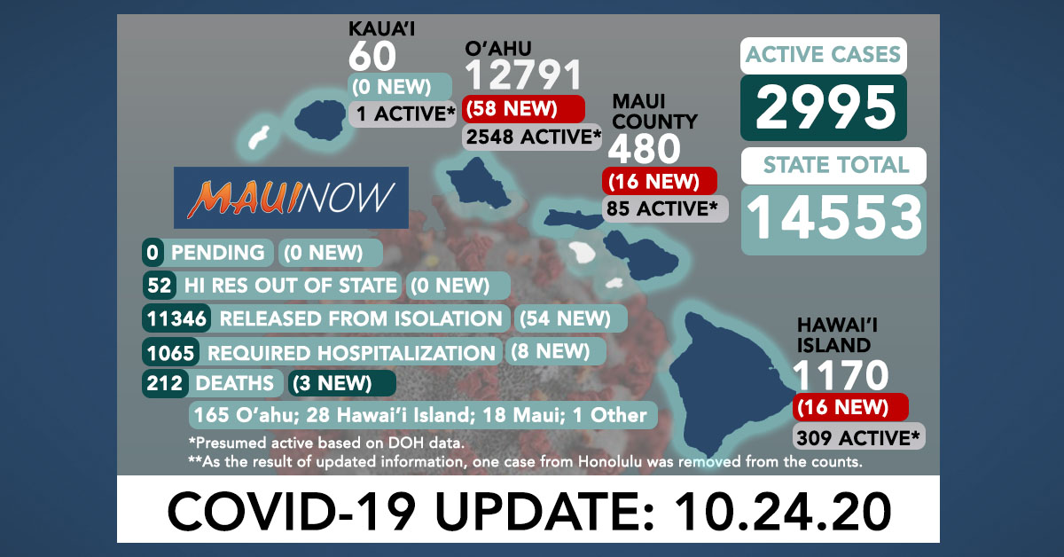 Oct. 24, 2020 COVID-19 Update: 90 New Cases (58 O'ahu, 16 Hawai'i Island, 16 in Maui County); 3 Deaths