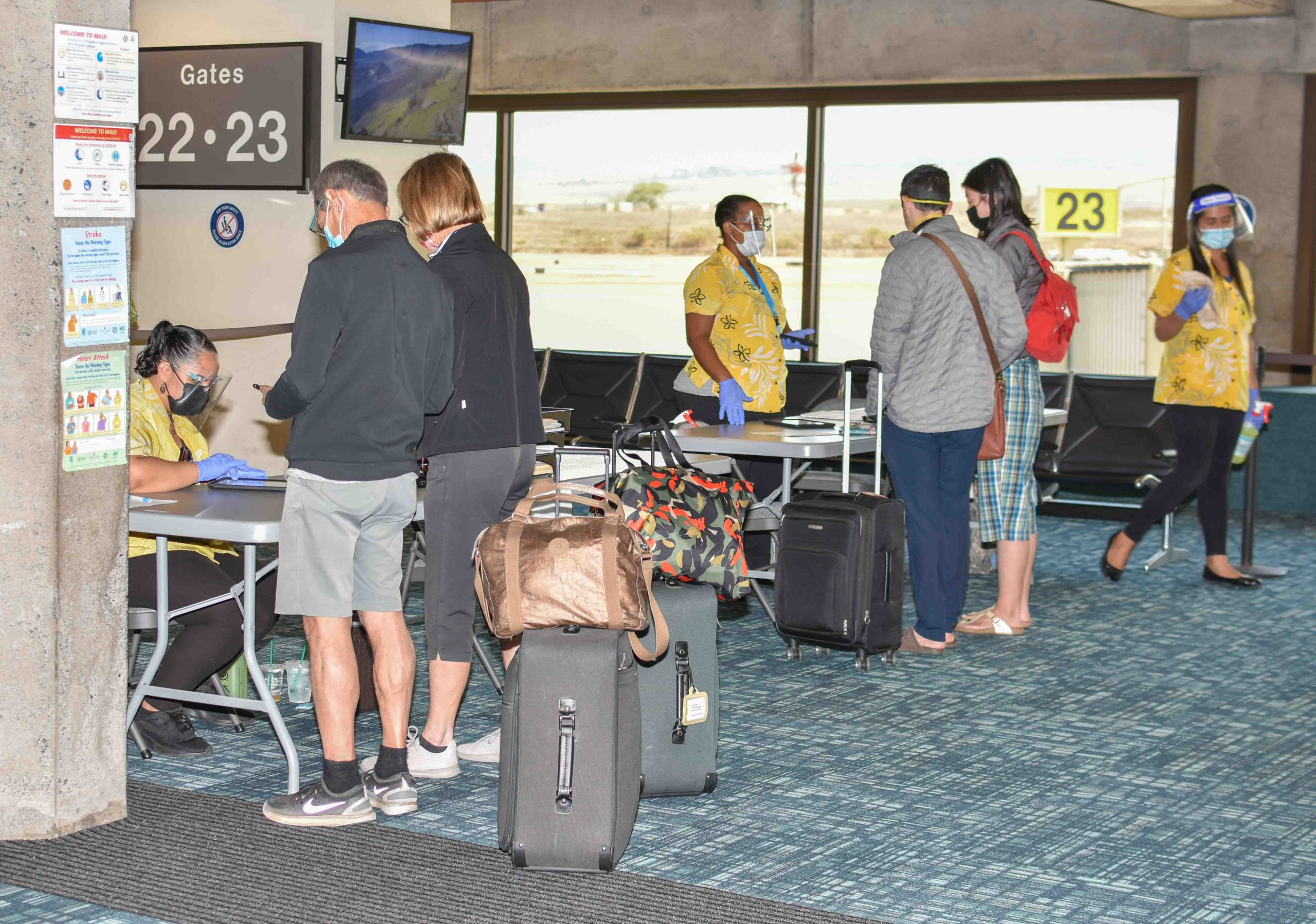 Passengers check in