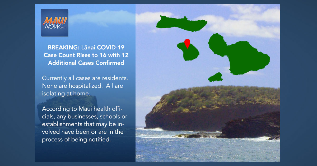 BREAKING: Lāna'i COVID-19 Case Count Rises to 16 with 12 Additional Cases Announced