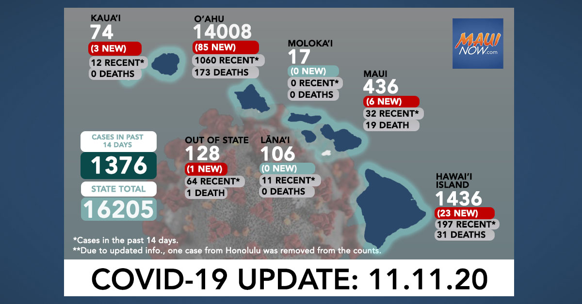 Nov. 11, 2020 COVID-19 Update: 118 New Cases (85 O'ahu, 23 Hawai'i Island, 6 Maui, 3 Kaua'i, 1 Out of State)