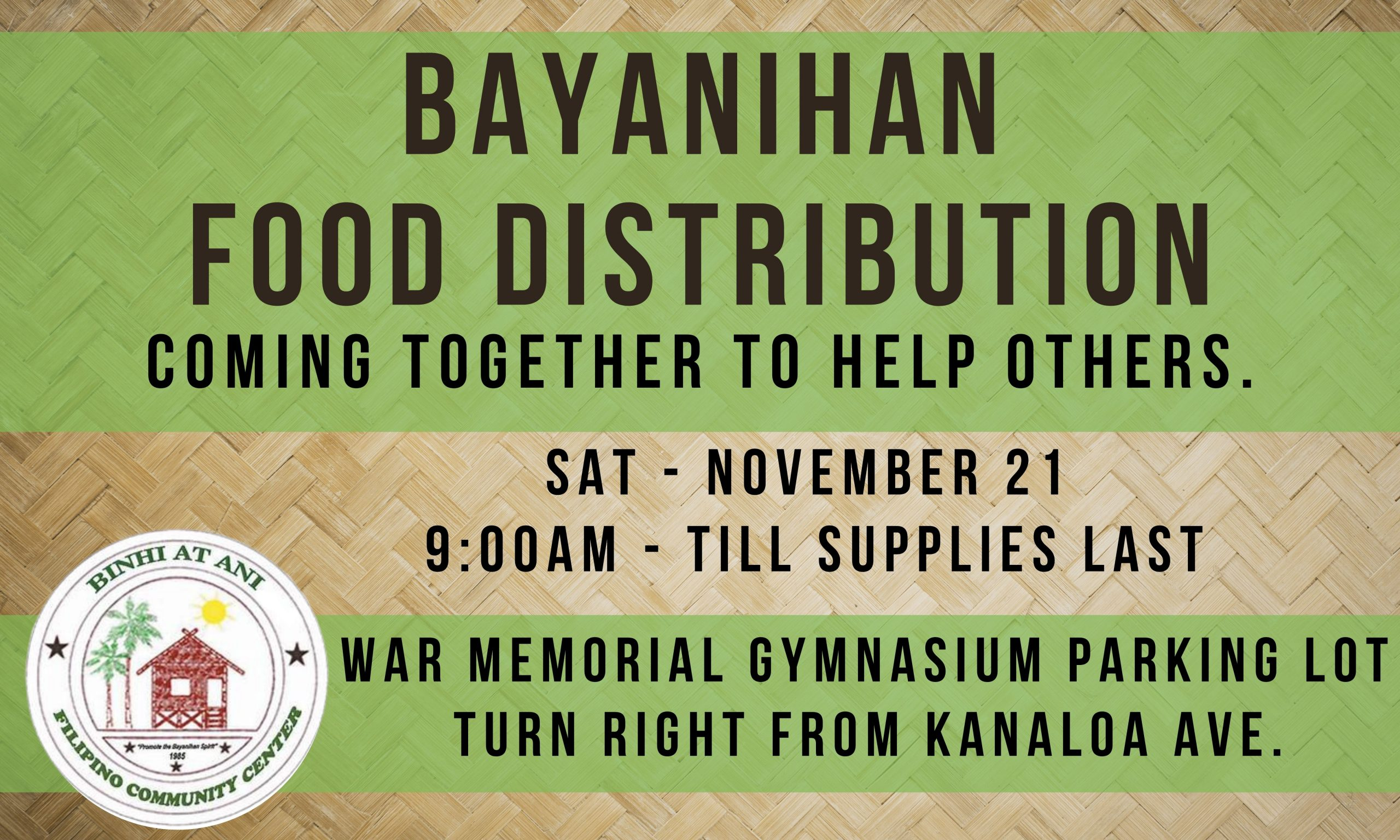 Thanksgiving Bayanihan Food Distribution on Nov. 21 in Wailuku