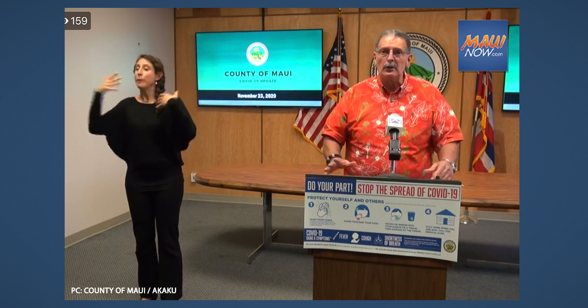 Maui Mayor Encourages Virtual Thanksgiving and Vigilance