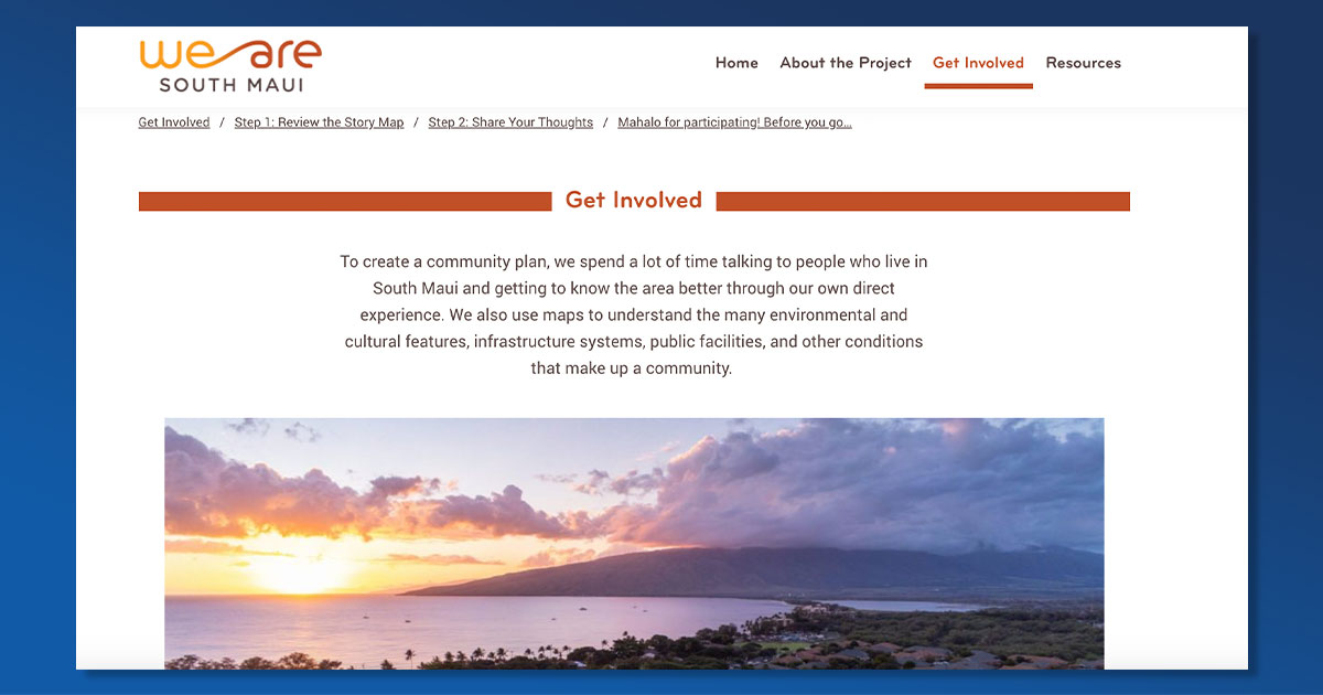 We Are South Maui Website Launches Public Engagement Activity Through End of Year