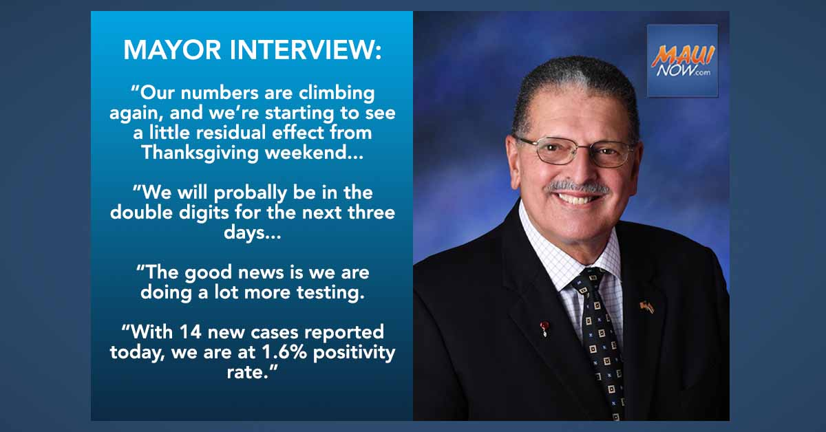 Mayor Interview: Six COVID Clusters Identified on Maui, Two Consecutive Days of Double-Digit New Cases