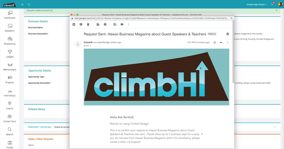 HIDOE Partners with ClimbHI to Connect Students with Career Opportunities with New Online Platform