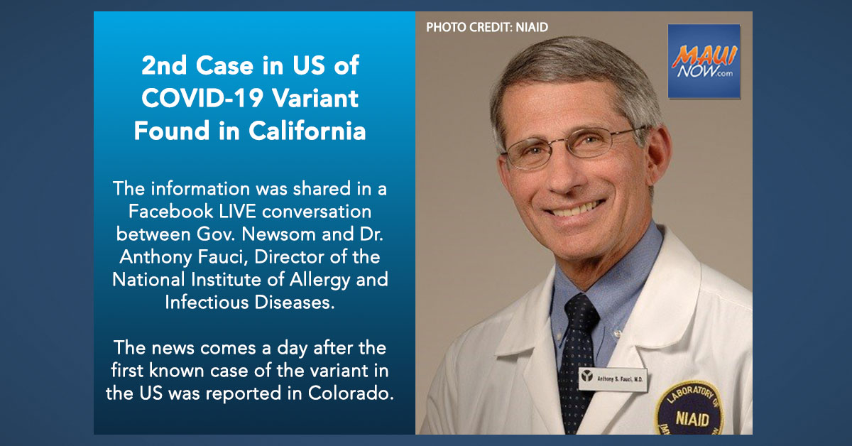 2nd Case in US of COVID-19 Variant found in California