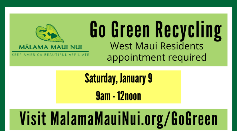No December Go Green Recycling for West Maui; Next Event Jan. 9