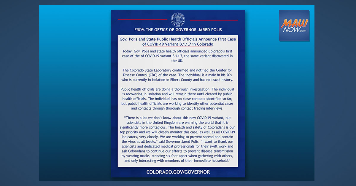 Colorado Governor Announces First Known US Case of COVID Variant in Colorado Man
