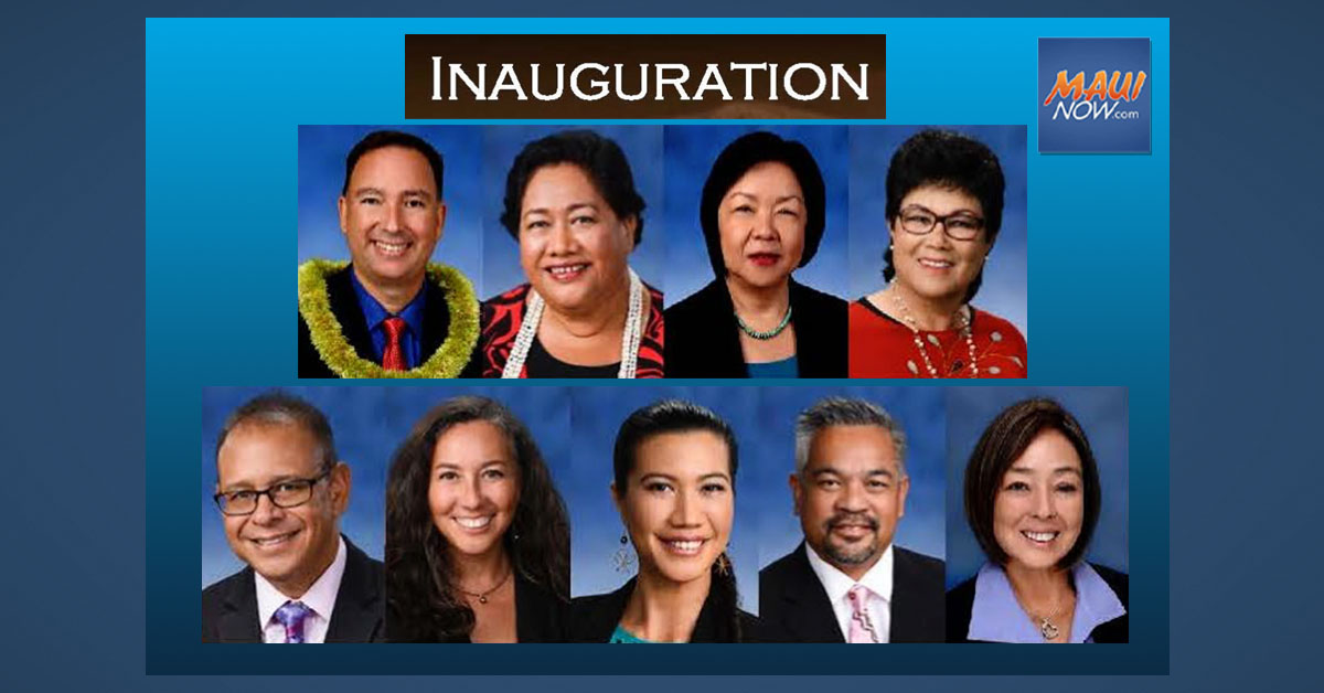 Virtual Maui Council Inauguration on Saturday, Jan. 2