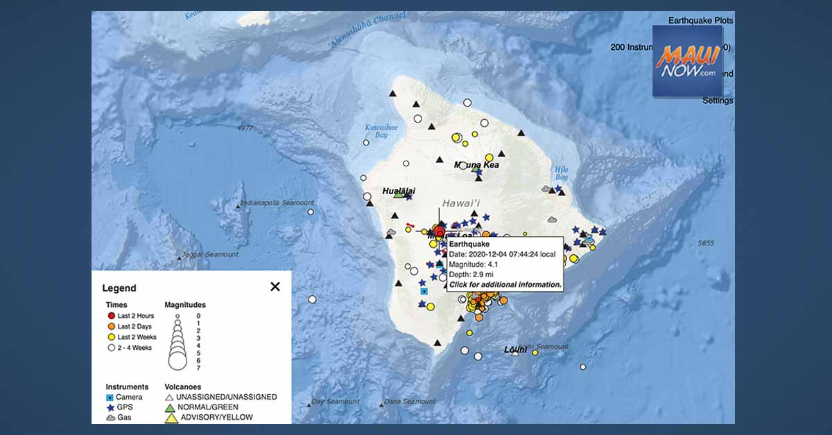 No Tsunami Expected After 4.1 Mauna Loa Earthquake on Hawai'i Island