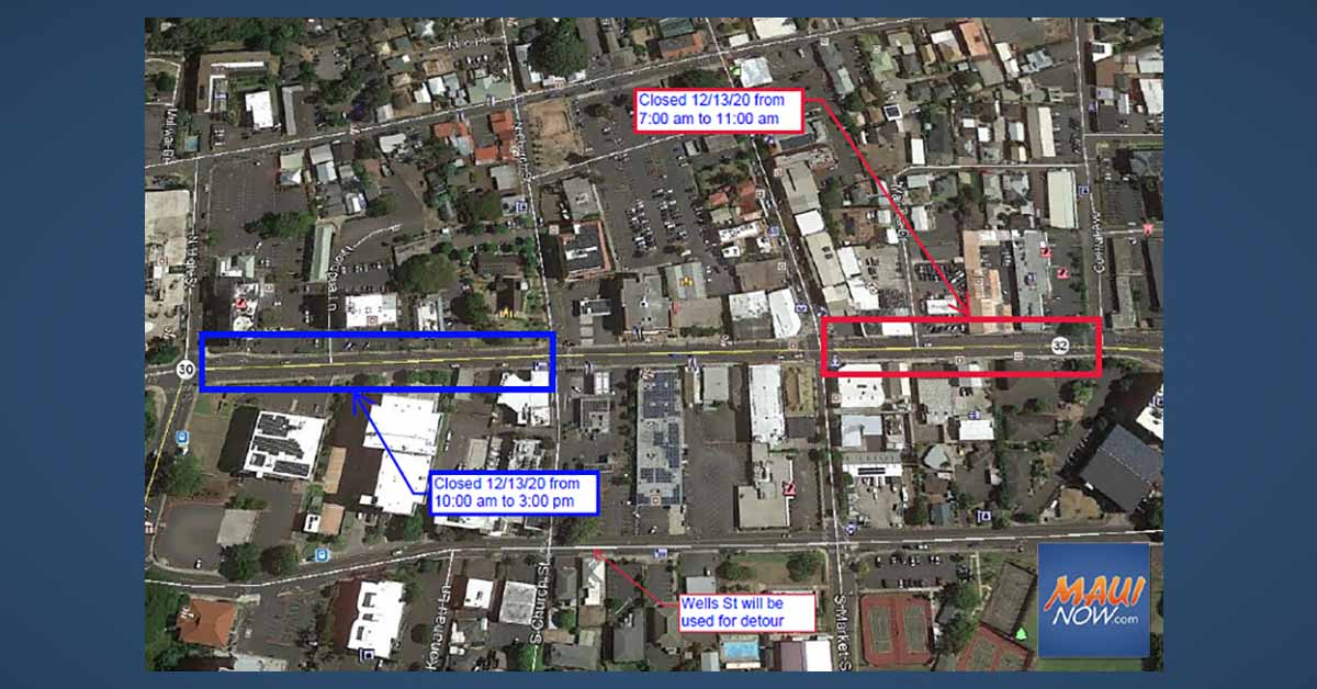 Weekend Closures of Main Street in Wailuku Town for Utility Work, Dec. 13 to Jan. 2
