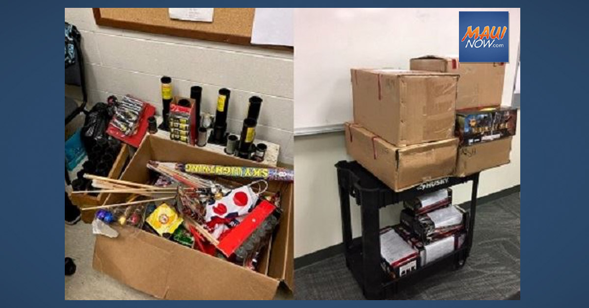 Maui Police Seize 177 Pounds of Illegal Aerial Fireworks Valued at $12,000