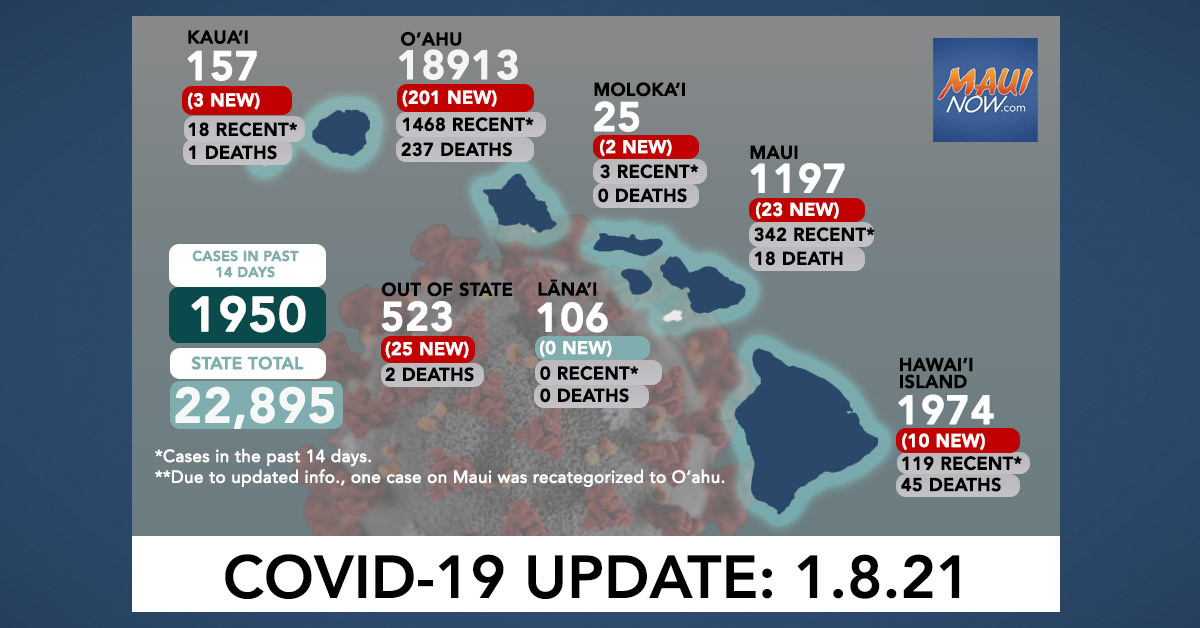 Jan. 8, 2021 COVID-19 Update: 264 New Cases (201 O'ahu, 23 Maui, 10 Hawai'i Island, 3 Kaua'i, 2 Moloka'i, 25 Out-of-State); 4 Deaths