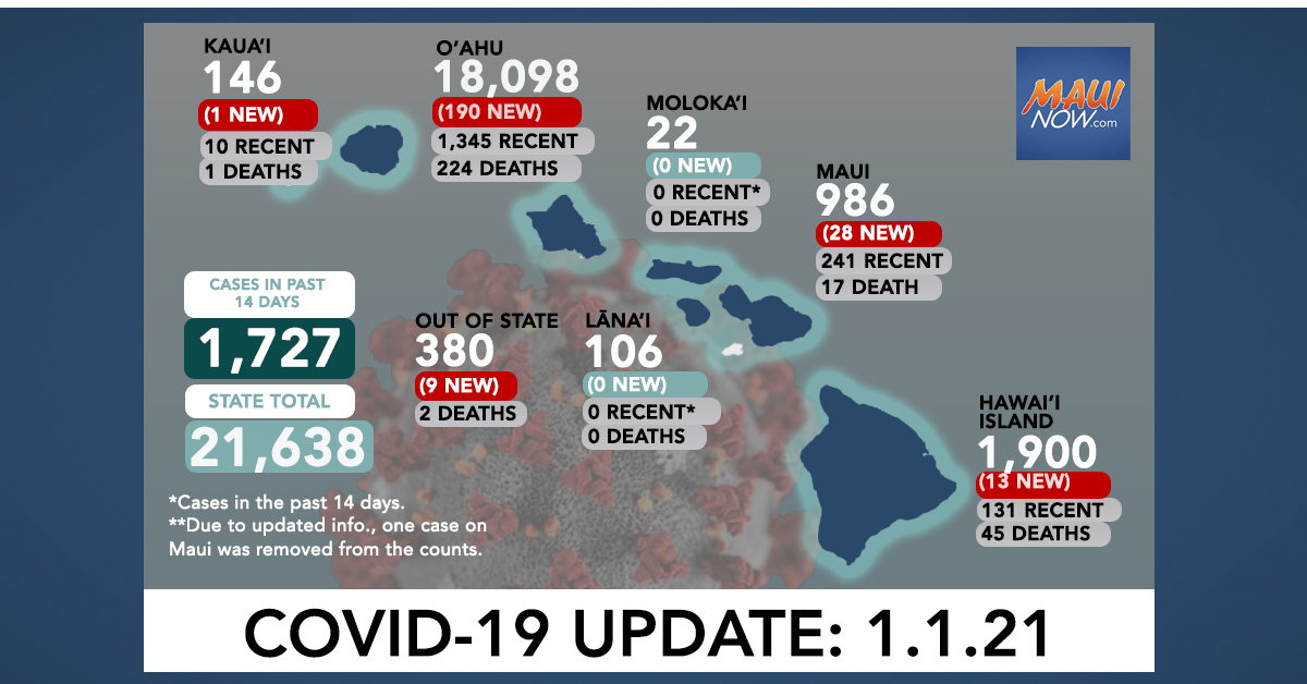 Jan. 1, 2021 COVID-19 Update: 241 New Cases (190 O'ahu, 28 Maui, 13 Hawai'i Island, 1 Kauaʻi, 9 Out-of-State, 1 Death)