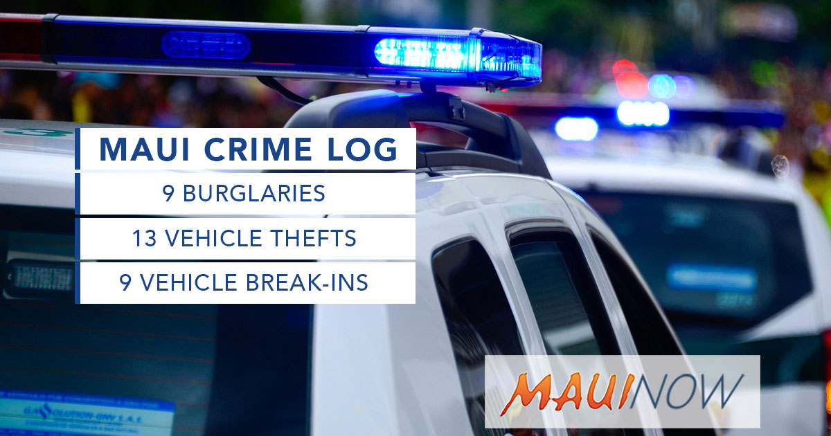 Maui Crime Dec. 27, 2020 – Jan. 2, 2021: Burglaries, Break-ins, Thefts