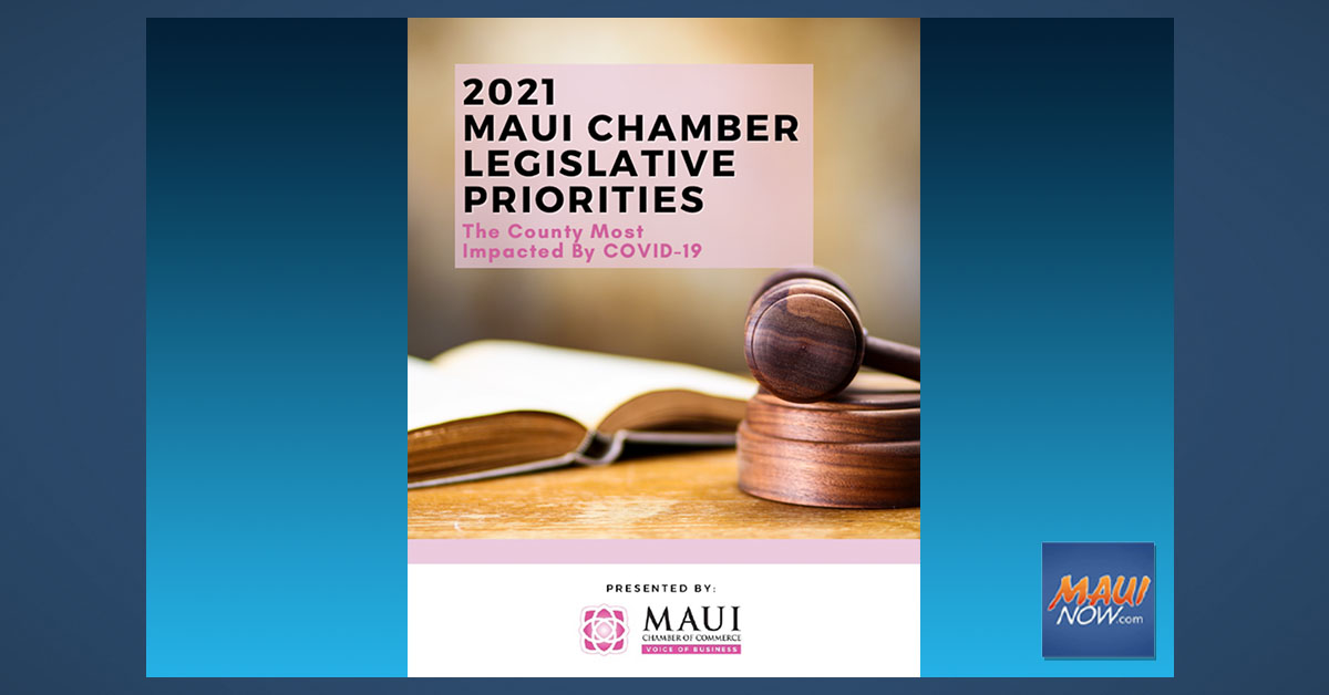 Maui Chamber of Commerce Releases Its 2021 Legislative Priorities