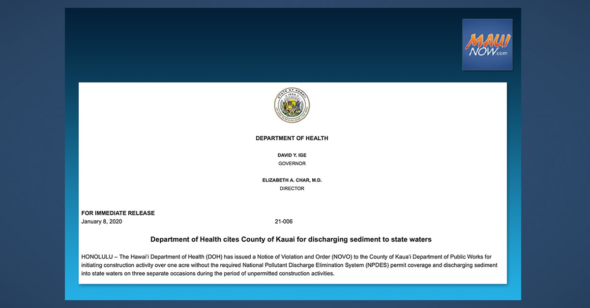 County of Kaua'i Cited by Health Department for Discharge of Sediment into State Waters