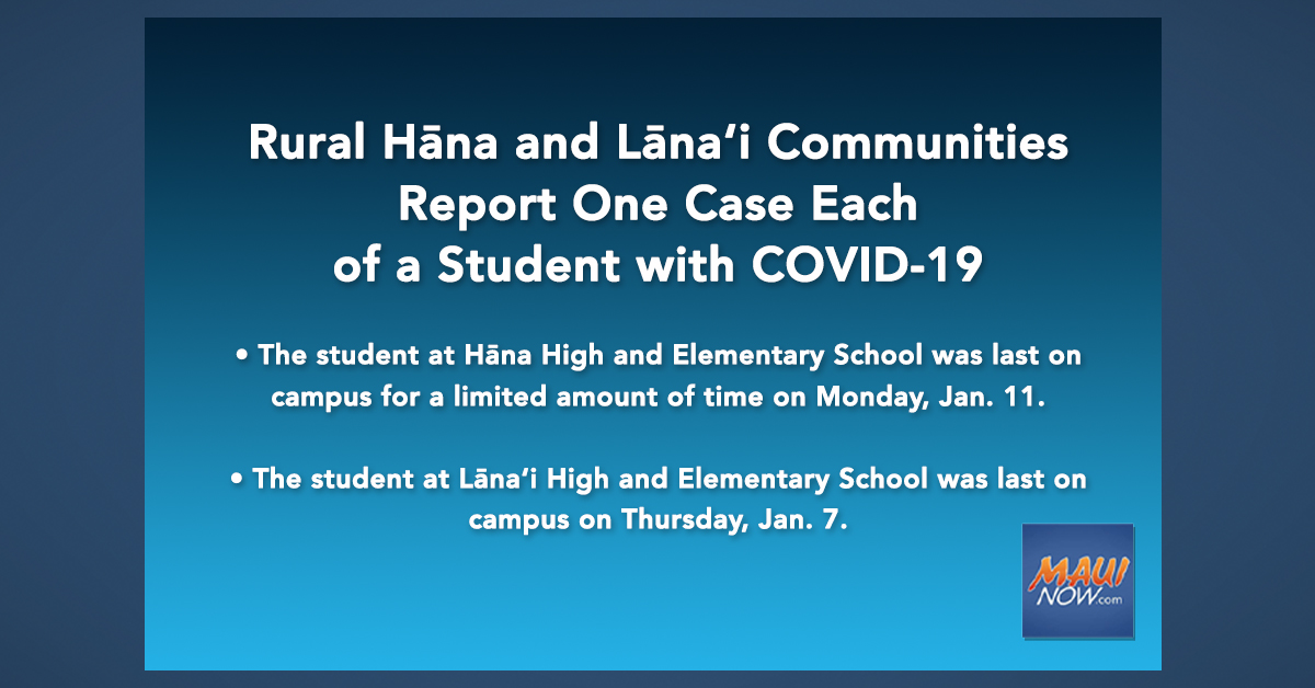 Rural Hāna and Lāna'i Communities Report One Case Each of a Student with COVID-19