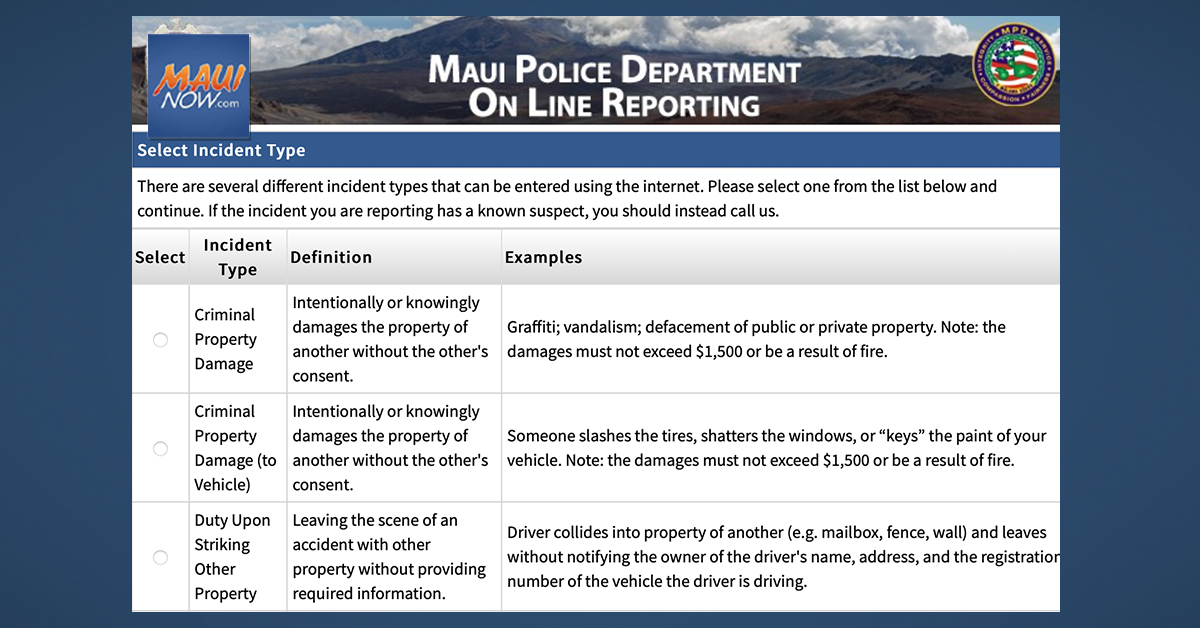 Maui Police Launch Citizen Online Reporting System for Non-Emergencies