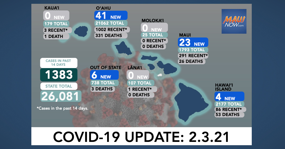 Feb. 3, 2021 COVID-19 Update: 74 New Cases (41 O'ahu, 23 Maui, 4 Hawai'i Island, 6 Out-of-State)