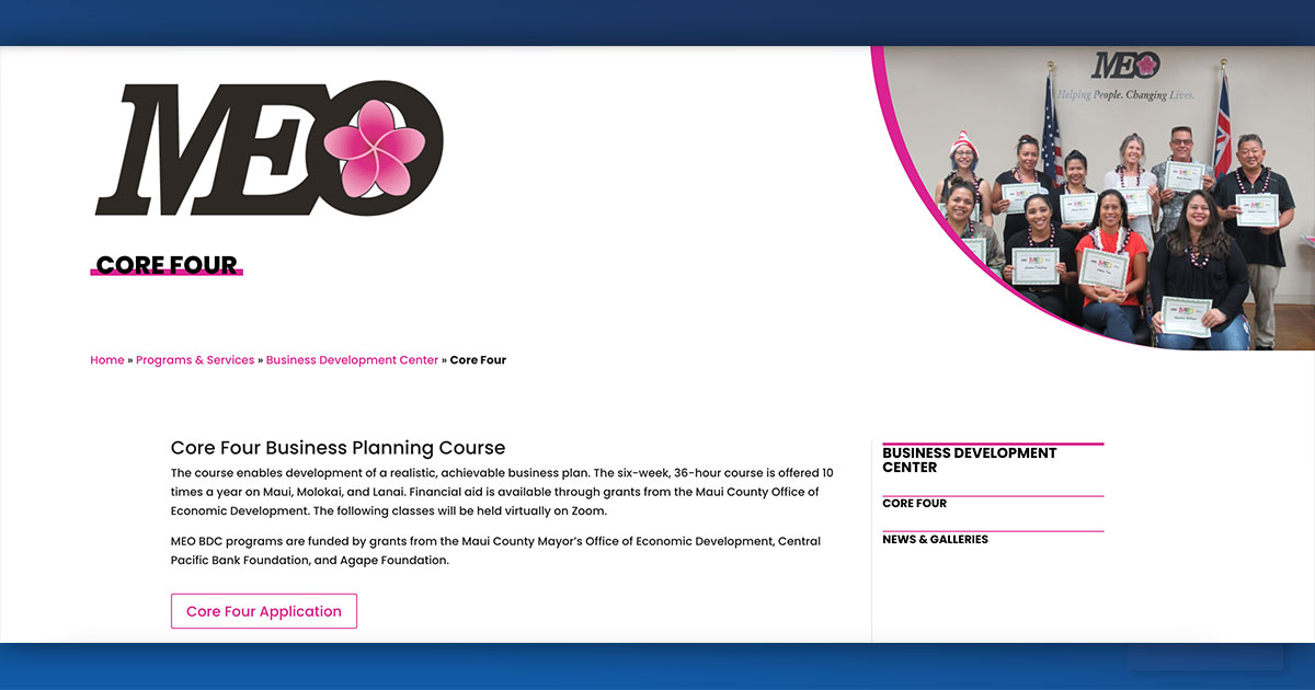 MEO Opens Course Registration for Core Four Business Planning Series