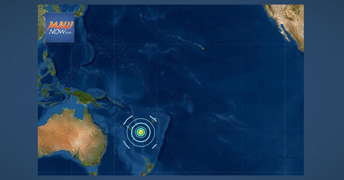 No Tsunami Threat to Hawai'i After 7.7 Earthquake SE of Loyalty Islands