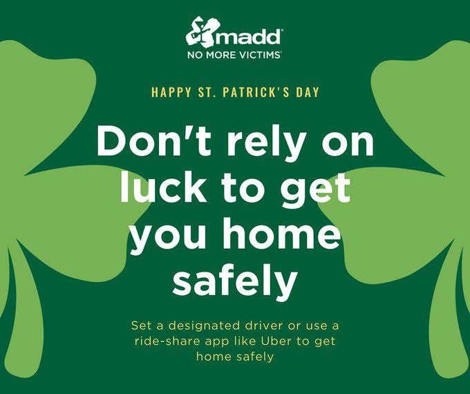 MADD Hawaiʻi Reminds Everyone Not To Drive Drunk on St. Patrick's Day