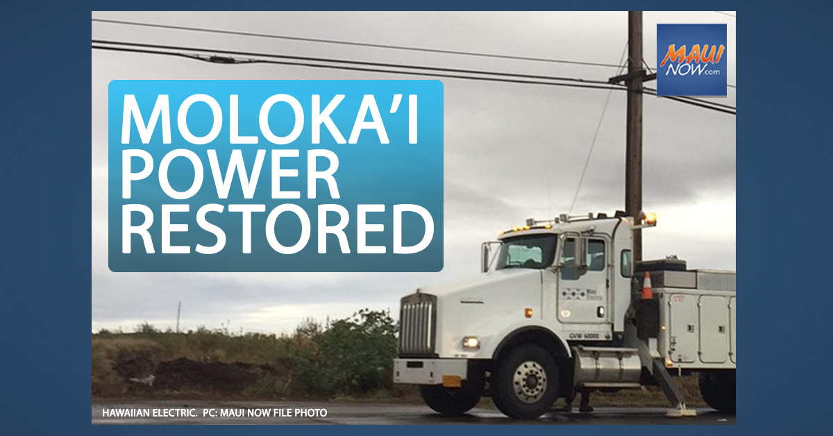 Power Restored on Molokaʻi After Gusty Winds Cause Outages