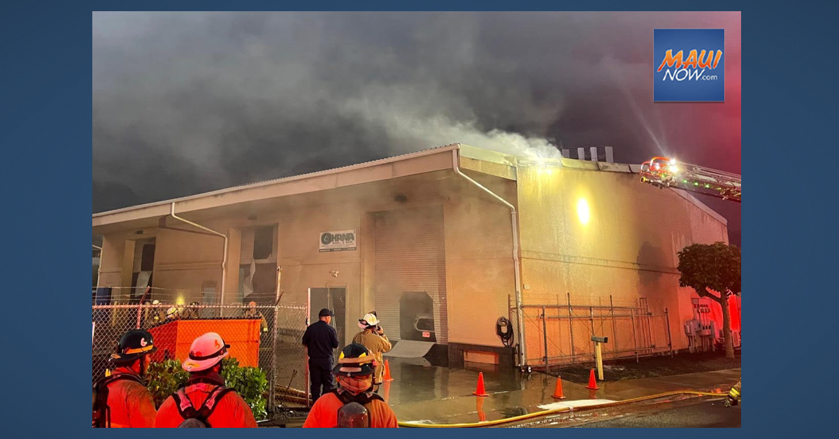 UPDATE: Cause of Waikapū Warehouse Fire is Undetermined, Damages Estimated at $966K