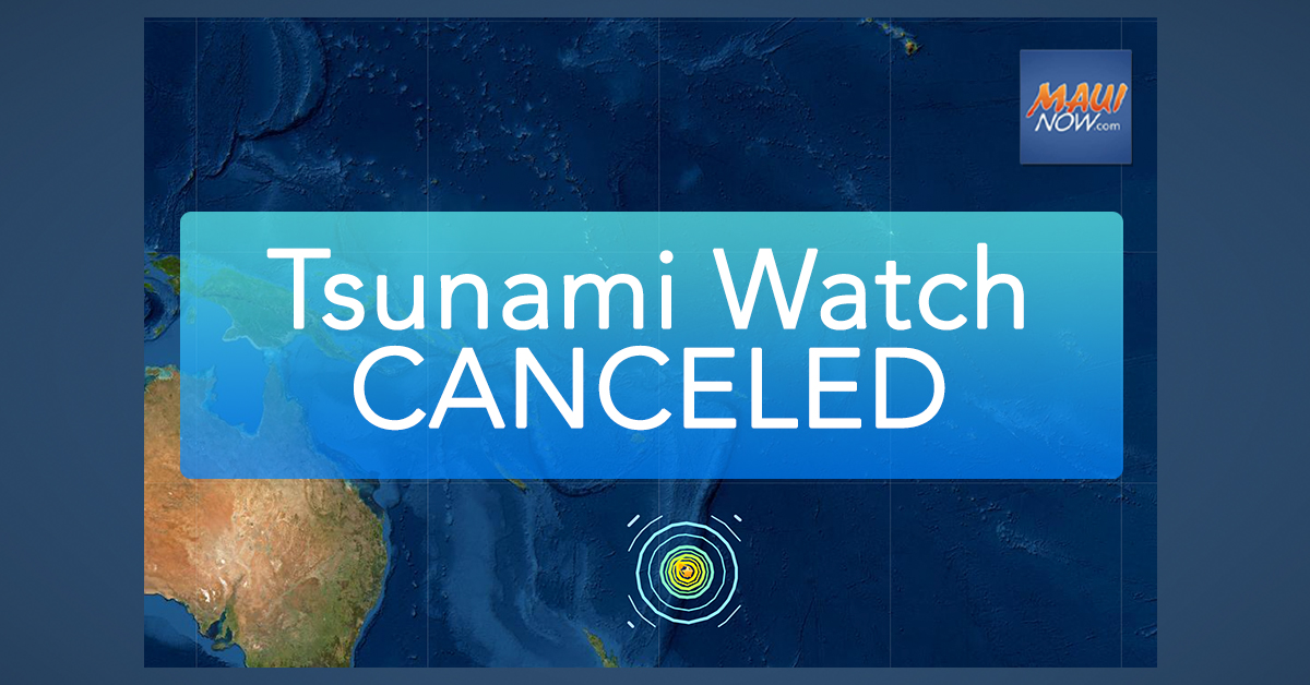 Tsunami Watch CANCELED for Hawaiʻi Following 8.1 Kermadec Islands Earthquake