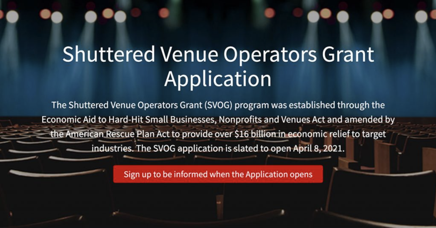 SBA Launches Portal to Begin Accepting Shuttered Venue Operators Grant Applications, April 8