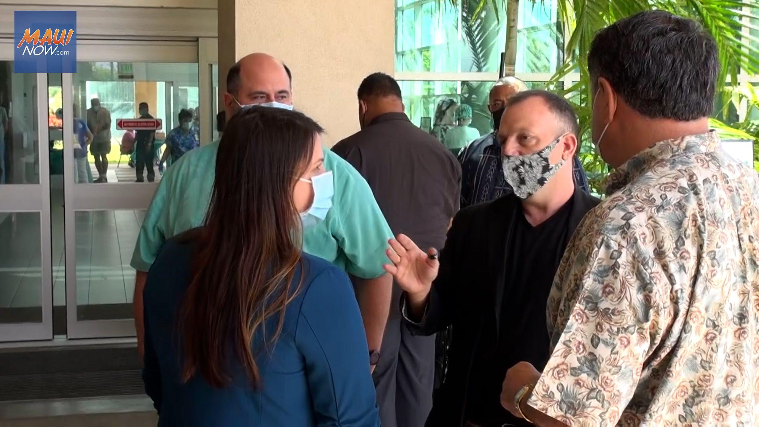 Lt. Gov. Josh Green Tours Maui Hospital Vaccination Clinic