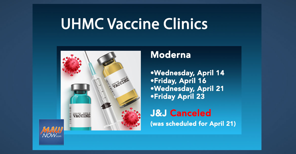 UPDATE: Maui District Health Office Announces COVID-19 Vaccine Clinics for April