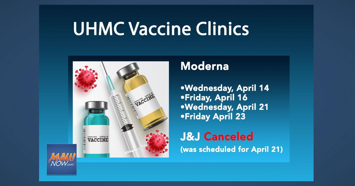UPDATE: Maui District Health Office Announces COVID-19 Vaccine Clinics for April