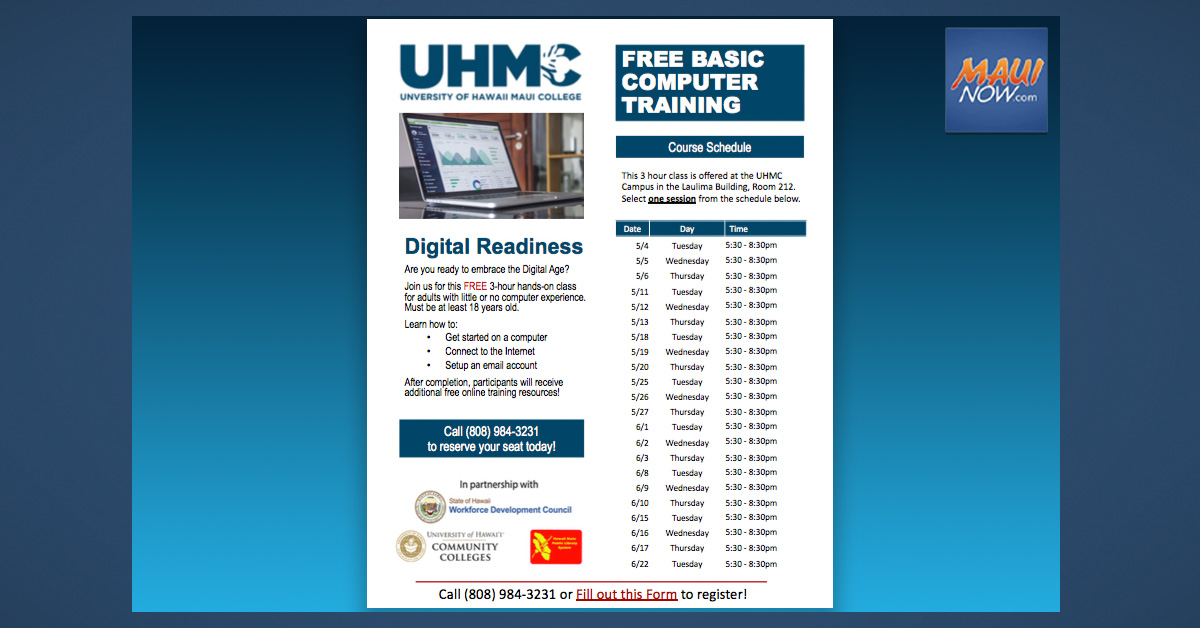 Free Digital Literacy Courses at UH Maui College