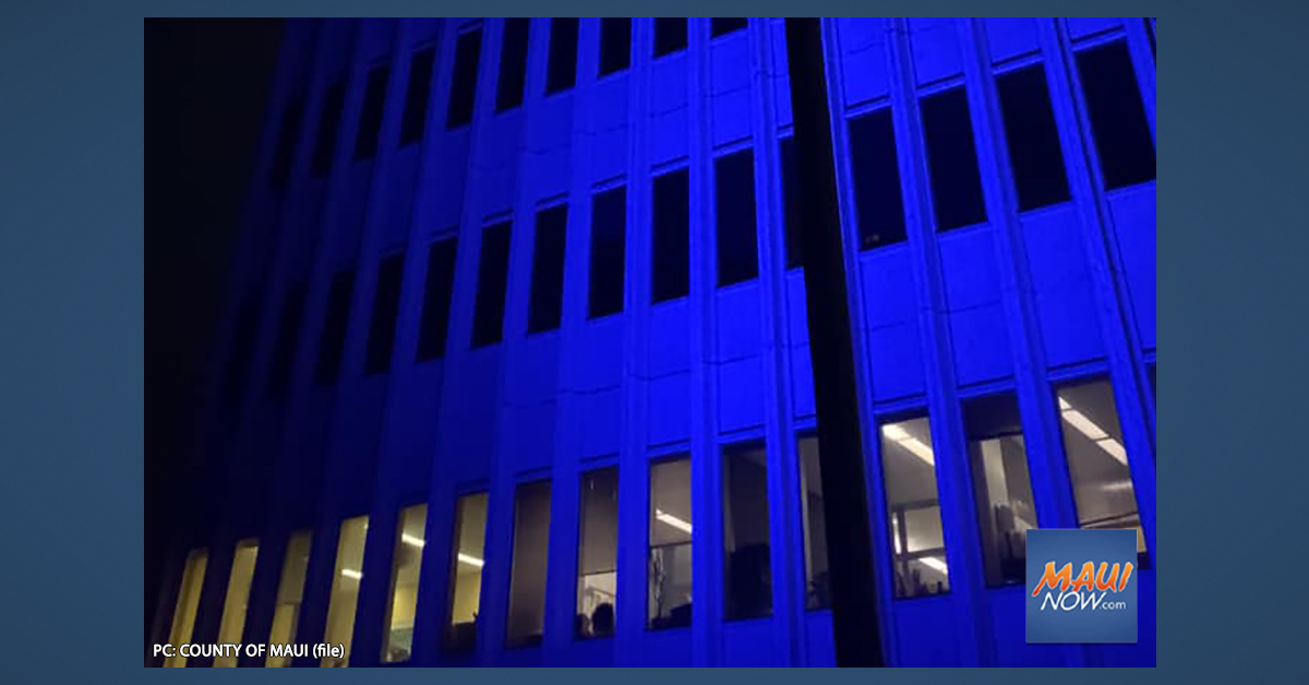 Kalana O Maui Building to be lit in blue in honor of Police Week