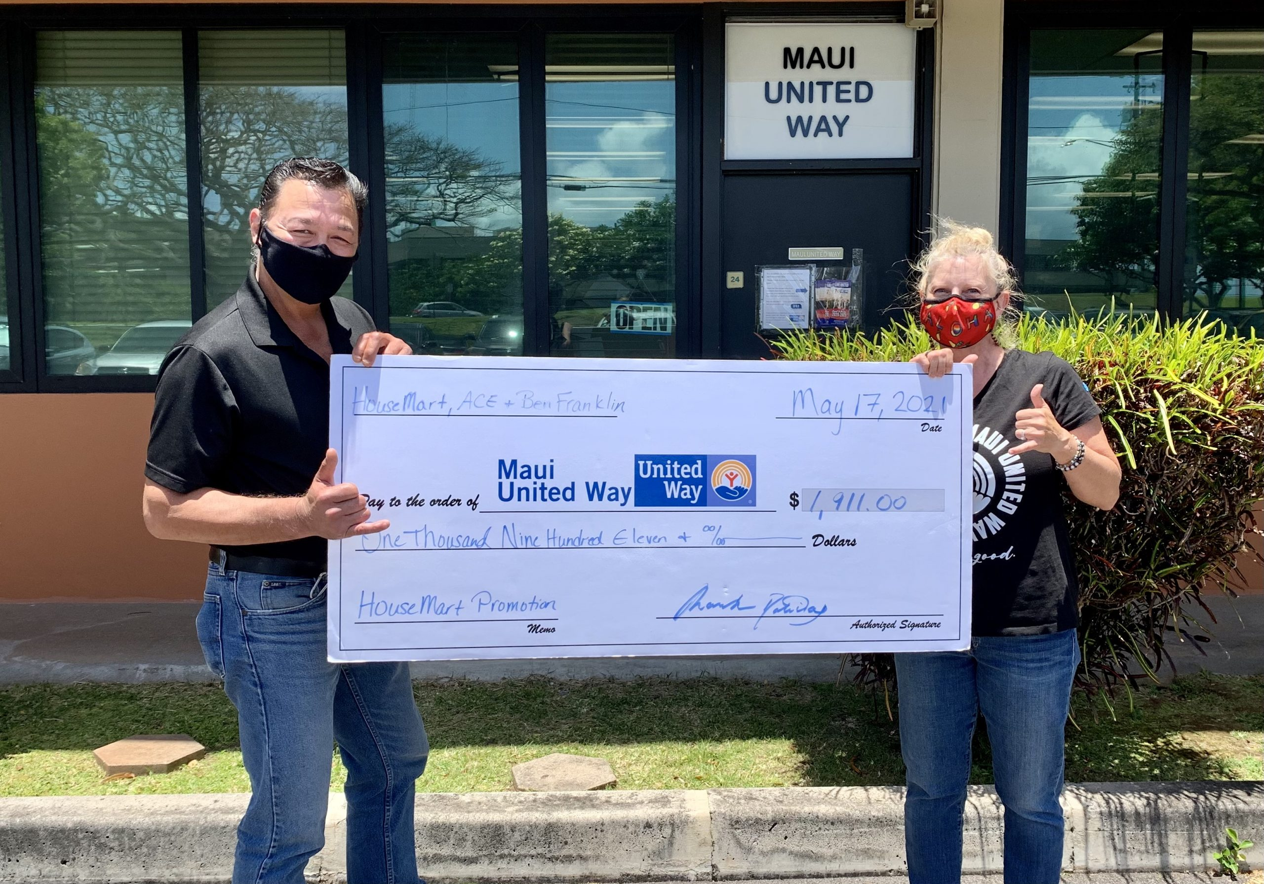 HouseMart Ace Hardware and Ben Franklin Crafts Contribute $1,911 to Maui United Way