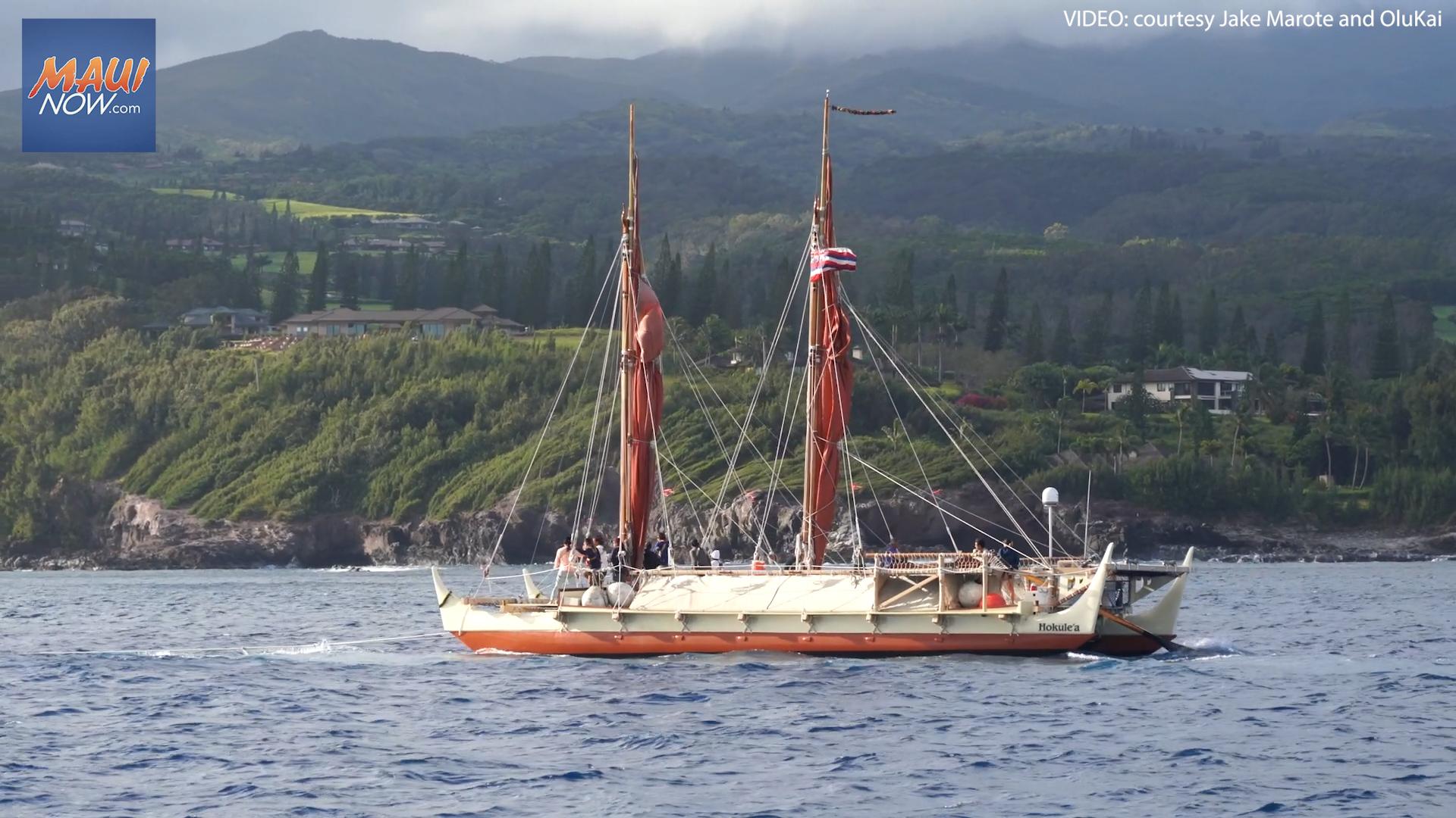 Hōkūleʻa and Hikianalia Sail to Honolua Bay, Maui for 45th Anniversary Event