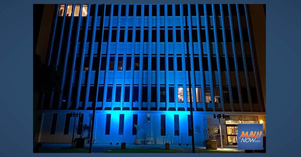 Kalana O Maui Building is Lit in Light Blue for Emergency Medical Services Week