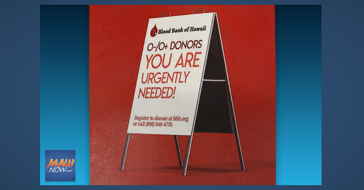 Blood Bank of Hawai'i in Urgent Need of Donors on Maui