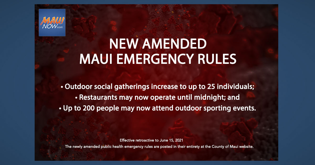 Amended Maui Emergency Rules: Expanded Outdoor Gatherings, Restaurant Hours