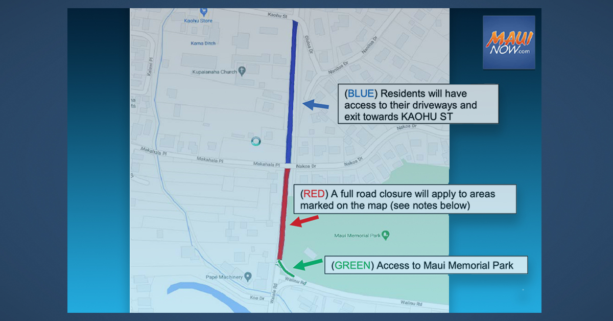 Wailuku, Waiale Road Paving Project Notice, Saturday, June 5