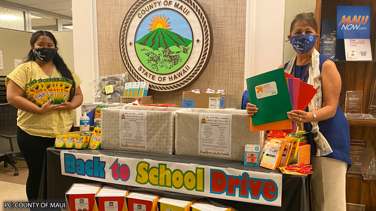 Maui County Employees Donate $100,000 in School Supplies to Families in Need