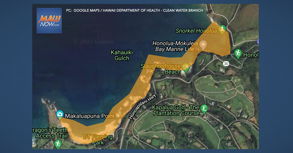 A Brown Water Advisory has been issued at Honolua to Fleming Beach Park on Maui.